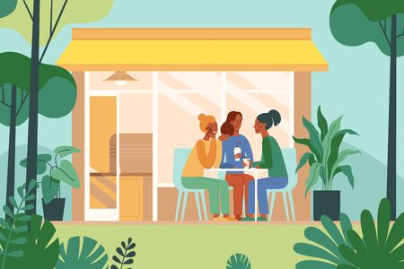 Vector illustration in simple flat style with characters - coffee shop interior with people meeting and drinking coffee Ilustração