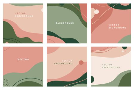 Vector set of abstract creative backgrounds in minimal trendy style with copy space for text - design templates for social media posts and stories - simple, stylish and minimal wallpaper designs for invitations, banners, covers, flyers, packaging
