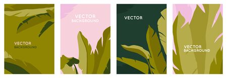 Vector set of abstract backgrounds with copy space for text, leaves and plants - bright vibrant banners in green colors, posters, packaging cover design templates, social media stories wallpapers in minimal trendy style