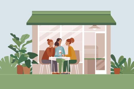 Vector illustration of coffee shop interior with happy female friends meeting and drinking coffee