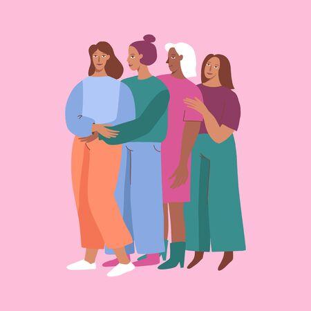 Vector illustration happy female friends