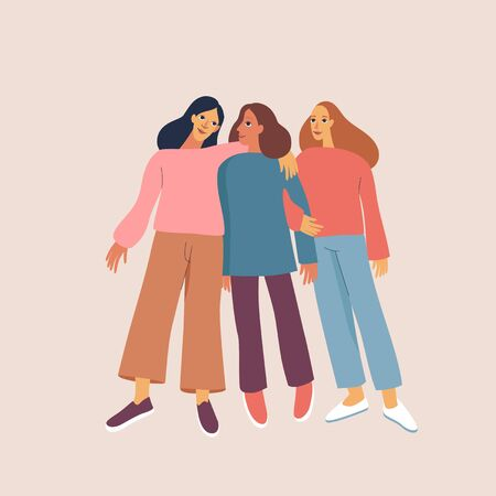Vector illustration happy female friends