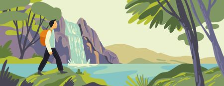 Vector illustration of tourist hiking at waterfall