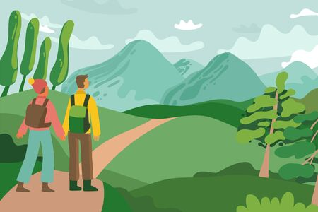 Vector illustration of tourist hiking