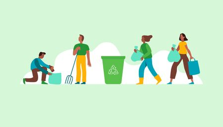 Vector illustration in flat cartoon simple style with characrters - recycling and ecology concept - people cleaning earth from trash and plastic - illustration for banner, landing page or greeting card