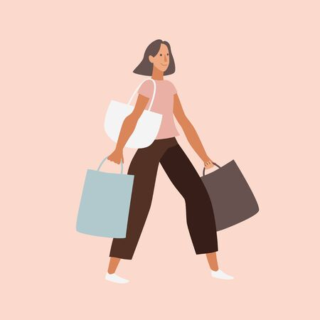 Vector illustration in flat cartoon simple style with character -  shopping concept - girl with purchases and bags