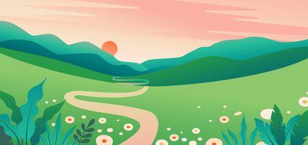 Vector illustration summer landscape with natural scene Zdjęcie Seryjne - 140259958