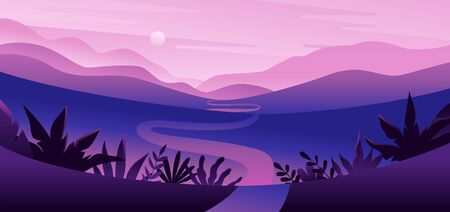 Vector illustration in flat simple style  with copy space for text - night landscape with natural scene - gradient hills - abstract background or wallpaper for banner, greeting card, wallpaper Ilustracja
