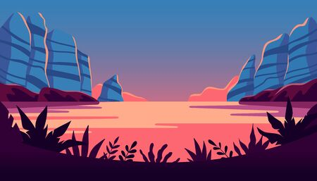 Vector illustration in flat simple style  with copy space for text - night landscape with natural scene - plants, lake and cliffs - abstract background or wallpaper for banner, greeting card, wallpaper