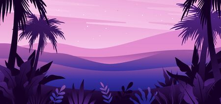 Vector illustration in flat simple style  with copy space for text - night landscape with natural scene - palm trees and hills - abstract background or wallpaper for banner, greeting card, wallpaper