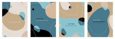 Vector set of abstract creative backgrounds in minimal trendy style with copy space for text - design templates for social media stories - simple, stylish and minimal wallpaper designs for invitations, banners, covers, flyers, packaging Ilustracja