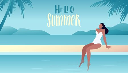 Vector illustration in trendy flat and simple style -  summer landscape and woman enjoying vacation - background for banner, greeting card, poster and advertising  Ilustracja