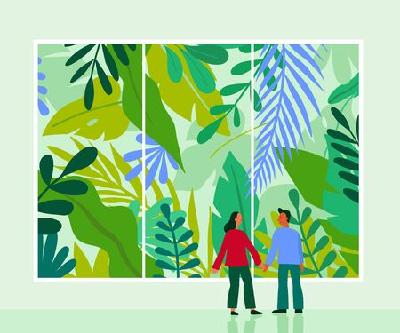 Vector illustration in flat cartoon simple style with character -  couple looking through the window with urban jungle scene and greenhouse - nature conservation and ecology concept Ilustracja