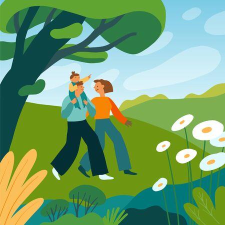 Illustration vectorielle dans un style simple de dessin animé plat avec des personnages - famille heureuse passant du temps dans un parc d'été - parents souriants et un enfant Vecteurs