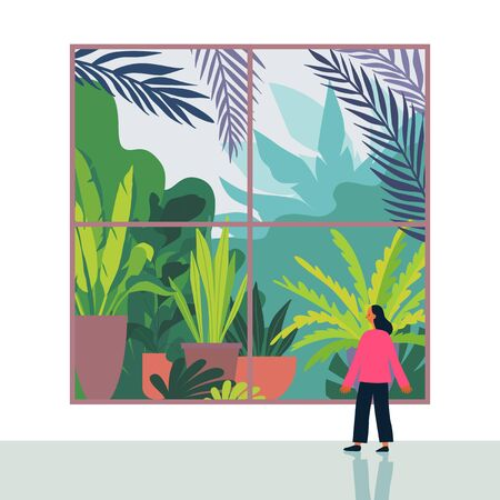 Vector illustration in flat cartoon simple style with character -  girl looking through the window with urban jungle scene and greenhouse - nature conservation and ecology concept