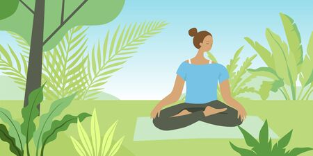 Vector illustration in flat cartoon simple style with character -  girl meditating in lotus pose among plants and grass outdoors Ilustracja