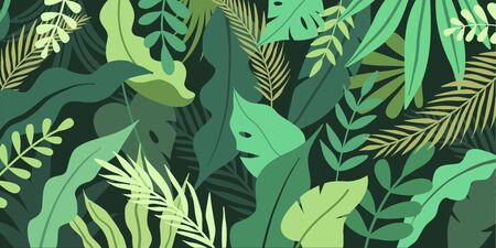 Vector illustration in simple flat style with copy space for text - background with plants and leaves - backdrop for greeting cards, posters, banners and placards Zdjęcie Seryjne - 140401834