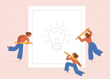 Vector illustration in flat cartoon simple style with characters - female  creative team working on design concept - girls holding pencils and drawing on paper. Graphic design concept Ilustracja