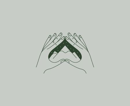 Vector abstract design template in simple linear style - hands and mountains - mystic abstract symbol for cosmetics and packaging, jewellery, hand crafted or beauty products Vektoros illusztráció