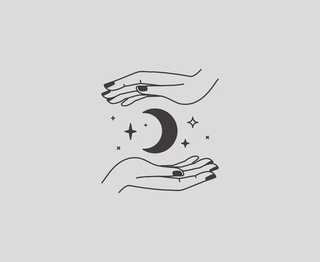 Vector abstract  design template in simple linear style - hands and stars - mystic abstract symbol for cosmetics and packaging, jewellery, hand crafted or beauty products Illustration