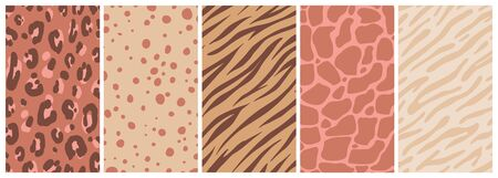 Vector set of abstract creative backgrounds in minimal trendy style with copy space for text with leopard print  - design templates for social media stories - simple, stylish and minimal wallpaper designs for invitations, banners, covers, flyers, packaging