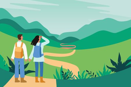 Vector illustration in flat simple style - tourists and landscape - characters with backpacks hiking - travel concept  and adventure tourism