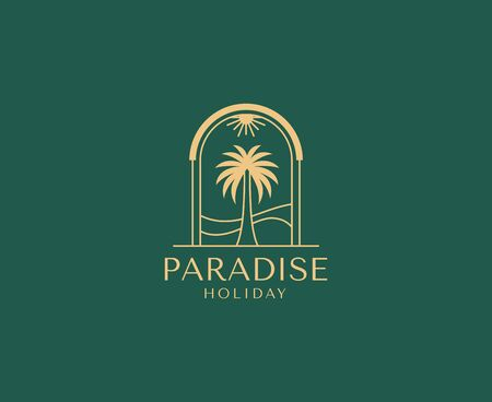 Vector design template with palm tree - abstract summer and vacation badge and emblem for holiday rentals, travel services, tropical spa and beauty studios Illustration