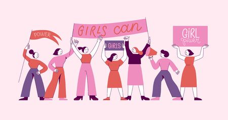 Vector illustration - feminist movement, stronger together fighting for women's rights - concept for prints, t-shirts, cards - happy women with banner  - greeting card and banner for international women's day Illustration