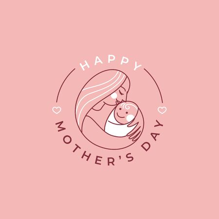 Vector abstract  design template and illustration in simple linear style - happy mother's day greeting card Illustration