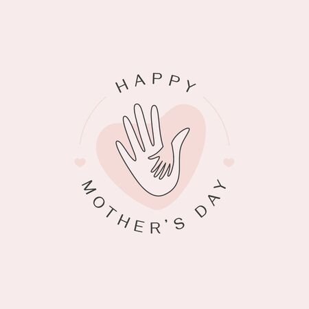 Vector abstract design template and illustration in simple linear style - happy mother's day greeting card