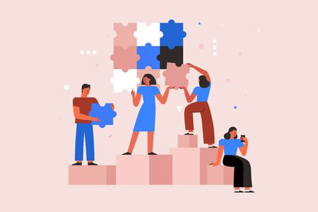 Vector illustration in simple flat style - teamwork and development concept - people holding  abstract geometric shapes and puzzle pieces - organisation and management  - banner and infographics design template