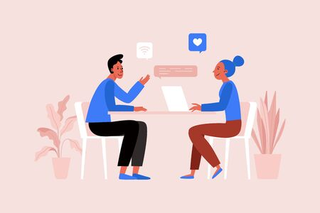 Vector illustration in flat simple style with characters - two people working together at the laptop, project management concept, we are hiring horizontal image for landing page and web site Illustration