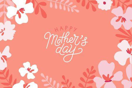 Vector illustration in flat simple style - happy mothers day greeting card with hand-lettering and flowers  Ilustracja