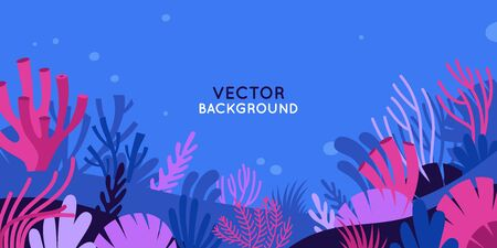 Vector horizontal background with underwater scene and nature - marine life - for banners, greeting cards, posters and advertising