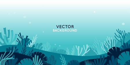Vector horizontal background with underwater scene and nature - marine life - for banners, greeting cards, posters and advertising Zdjęcie Seryjne - 140828327