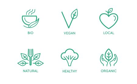 Vector set of design elements,   design templates, icons and badges for natural and organic food and cafes in trendy linear style - plant-based vegan local food