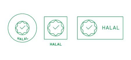 Vector design element, logo design template, icon and badge for halal food - stamp for packaging Ilustracja