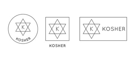 Vector design element, logo design template, icon and badge for kosher food - stamp for packaging