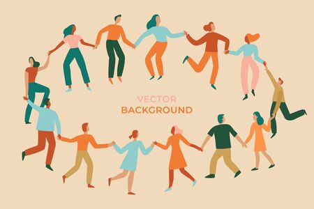 Vector illustration in flat simple style - happy jumping team - men and women dancing - victory, teamwork and cooperation concept - happy and joyful people