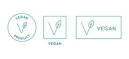 Vector design element, logo design template, icon and badge for vegan food - stamp for packaging