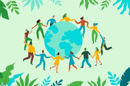 Vector illustration in flat cartoon simple style with characters - recycling and ecology concept - people dancing together holding hands and green planet - illustration for banner, landing page or greeting card Ilustracja