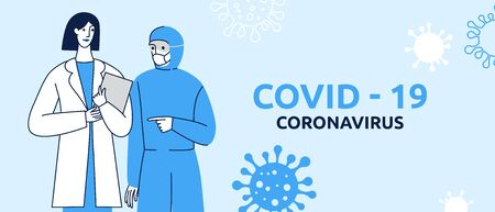 Vector illustration in flat simple style with characters - novel coronavirus concept, covid-19 - medical team and scientist working on tests and vaccine development