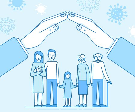Vector illustration in flat simple style with characters - novel coronavirus concept, self quarantine and social isolation for family with kids and elderly people - covid-19 - illustration for infographics and banners