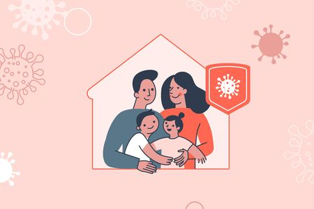 Vector illustration in flat simple style with character - novel coronavirus concept, self quarantine and social isolation for family  - covid-19 -  illustration for infographics and banners - stay home, stay safe 向量圖像