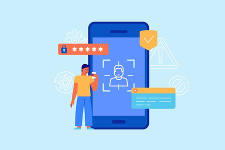 Vector illustration in flat simple style with characters - online security concept - personal data protection with biometric technologies and personal identification. Virtual interface with fingerprint id and password