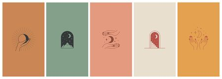 Vector set of abstract logo design templates in simple linear style