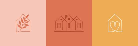 Cozy home emblems, houses and plants  stay at home  in simple minimal linear style