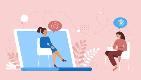 Vector illustration in flat  simple style - online psychological help and support service - psychologist and her patient having video call using modern technology app. Counseling therapy, depression and stress management  Illustration