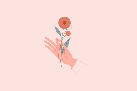 Vector abstract branding design template in trendy linear minimal style - hand holding flowers - concept for natural beauty and organic skincare products, handmade fashion and jewellery