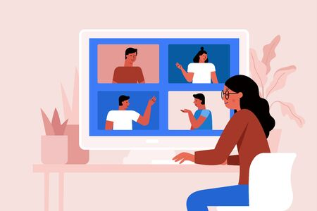 Vector illustration in simple flat style with characters - collective video conference and online group meeting - teamwork and remote freelance working during the quarantine and lockdown concept  - banner and infographics design template Illustration